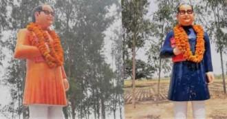 विवाद के बाद भगवा से नीली हुई बाबा साहेब अंबे़डकर की पोशाक